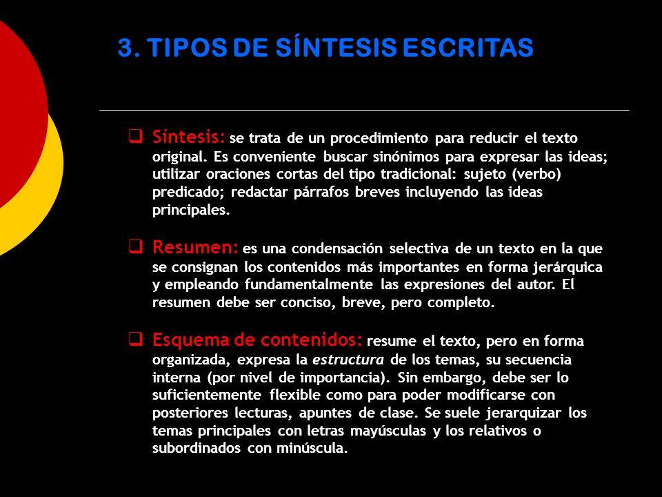 3. TIPOS DE SÍNTESIS ESCRITAS