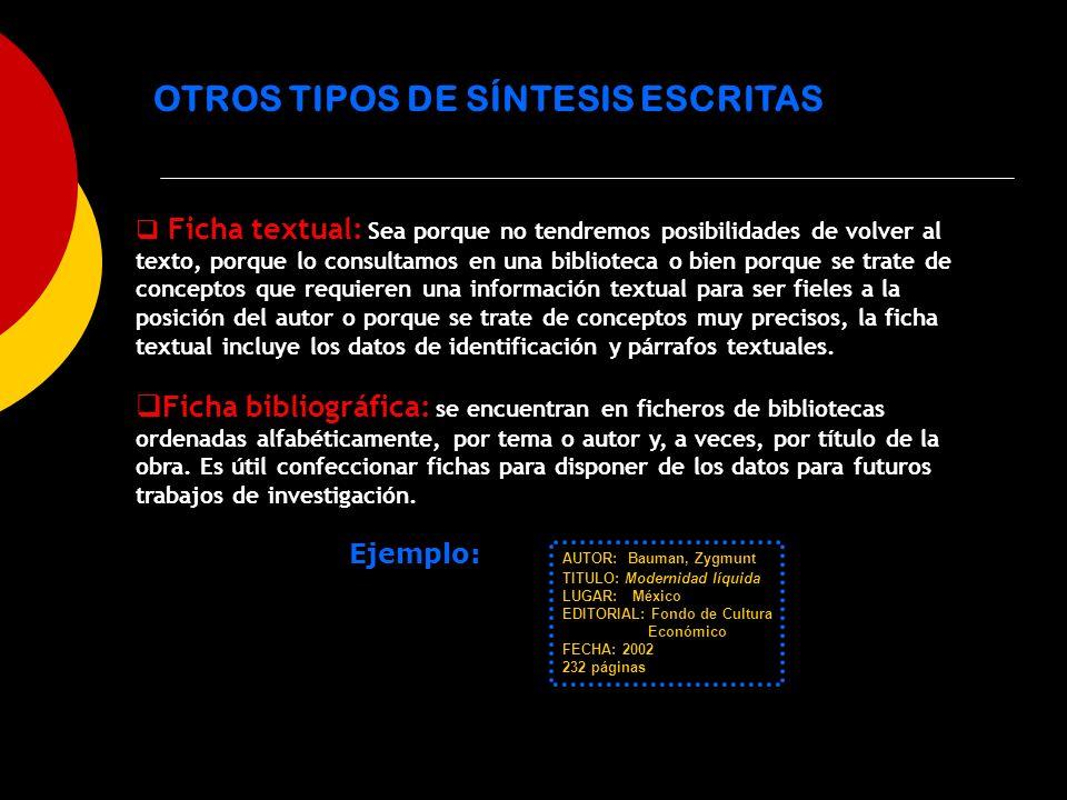 OTROS TIPOS DE SÍNTESIS ESCRITAS