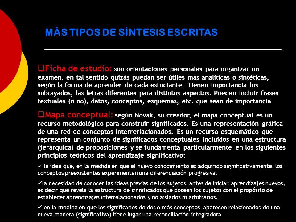 MÁS TIPOS DE SÍNTESIS ESCRITAS