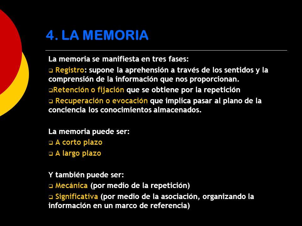 4. LA MEMORIA La memoria se manifiesta en tres fases:
