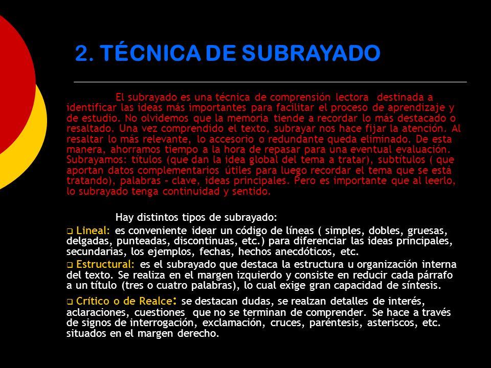 2. TÉCNICA DE SUBRAYADO