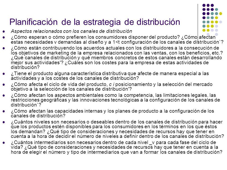 Planificación de la estrategia de distribución