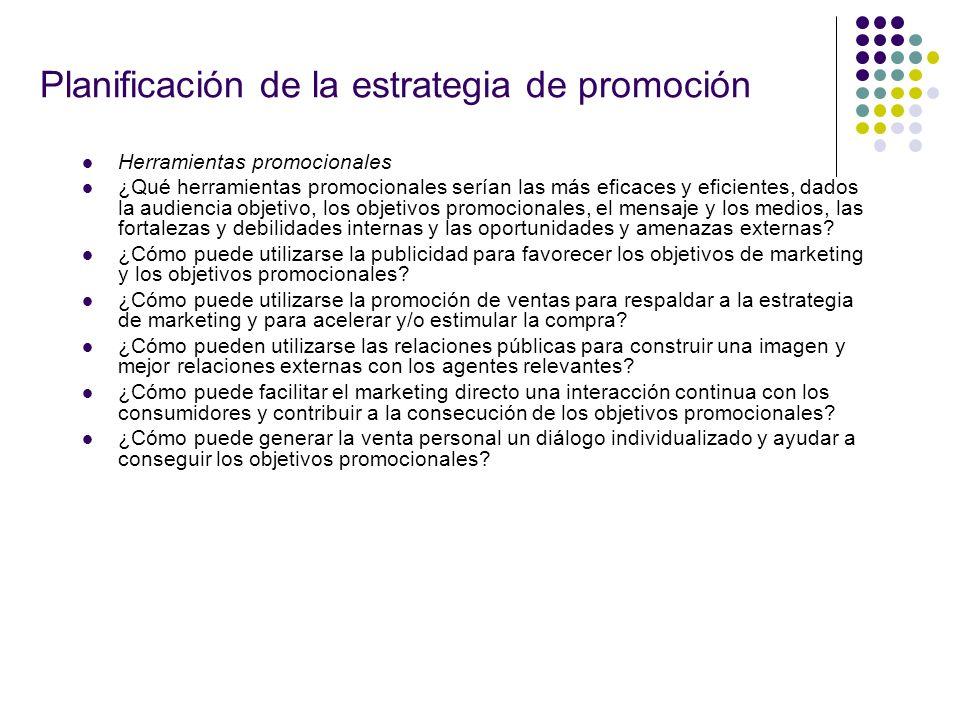 Planificación de la estrategia de promoción