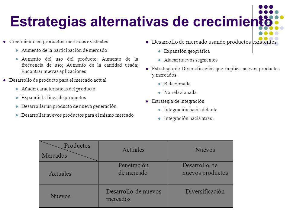 Estrategias alternativas de crecimiento
