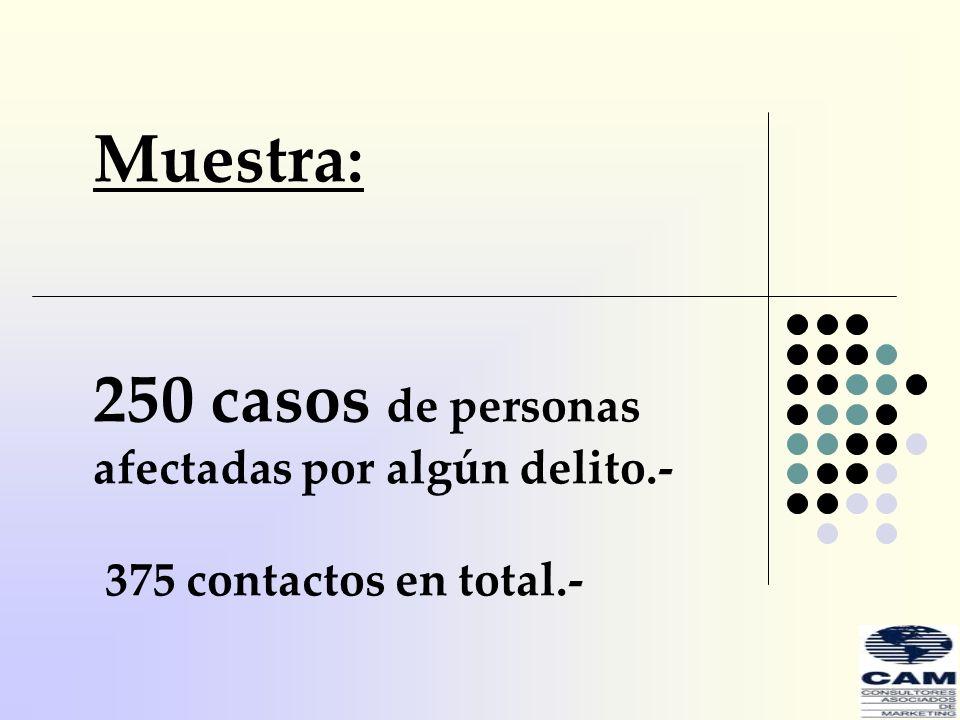 250 casos de personas afectadas por algún delito.-