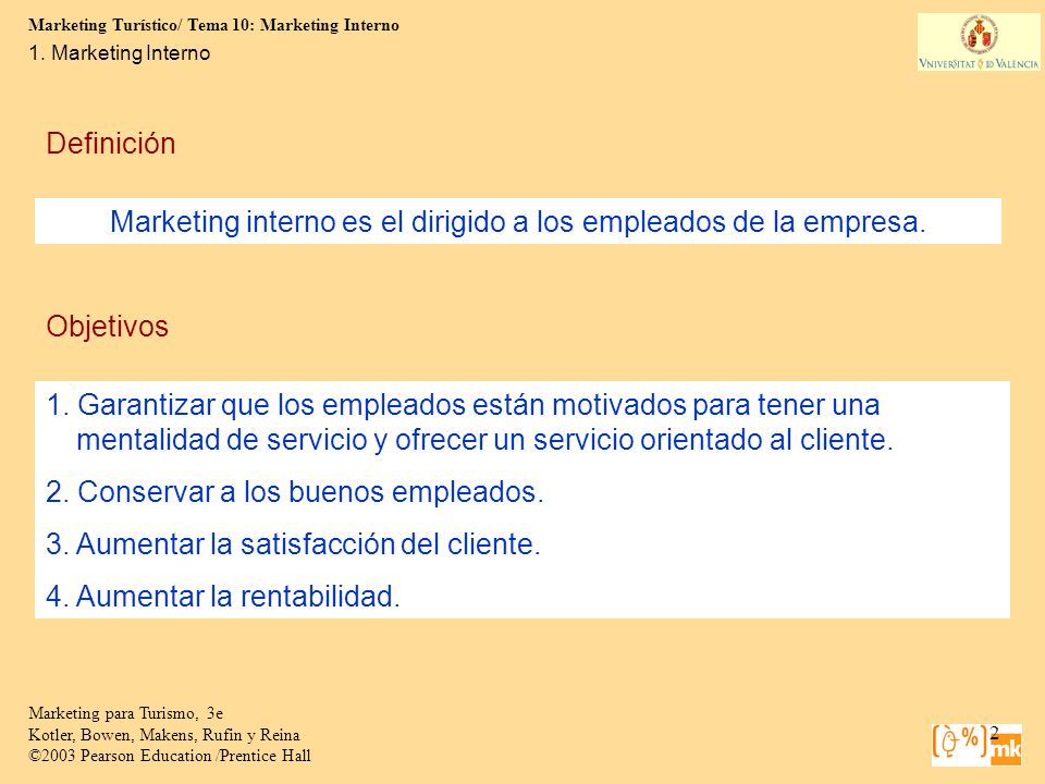 Marketing interno es el dirigido a los empleados de la empresa.