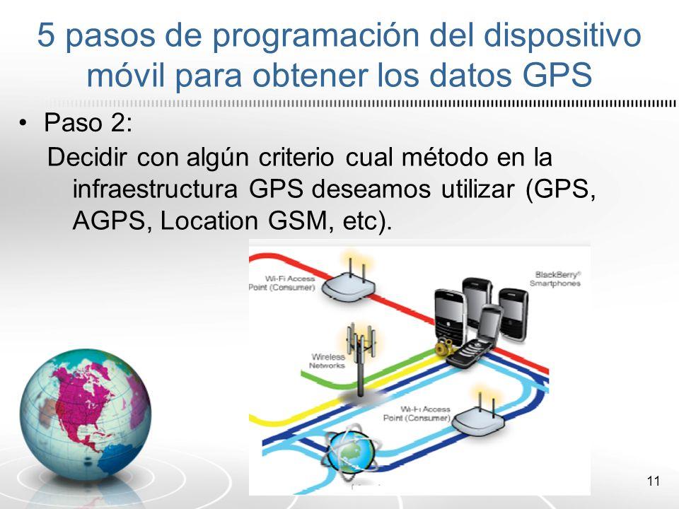 5 pasos de programación del dispositivo móvil para obtener los datos GPS