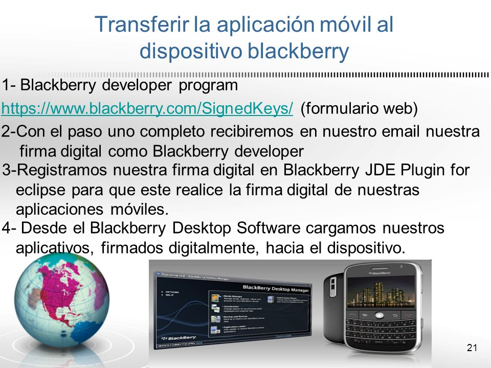 Transferir la aplicación móvil al dispositivo blackberry