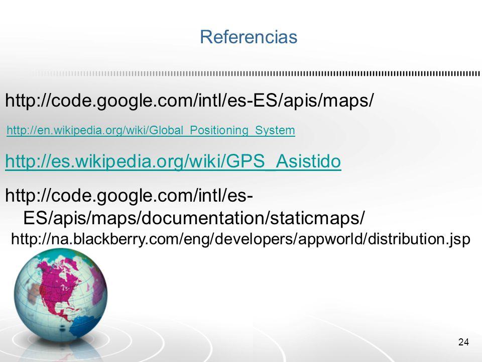 Referencias http://code.google.com/intl/es-ES/apis/maps/
