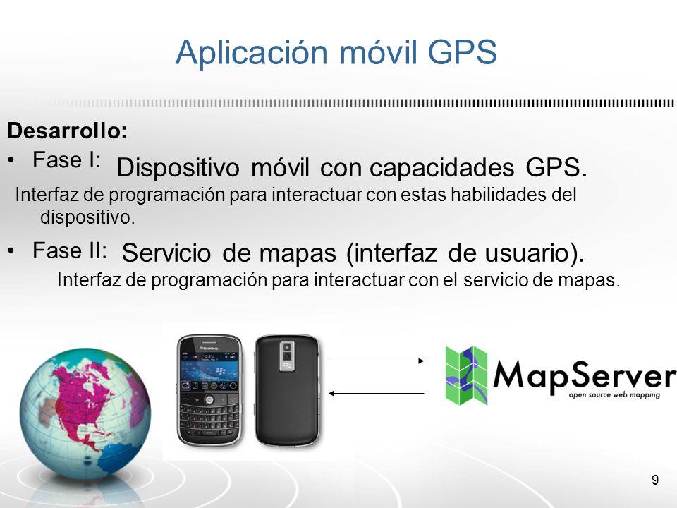 Aplicación móvil GPS Dispositivo móvil con capacidades GPS.