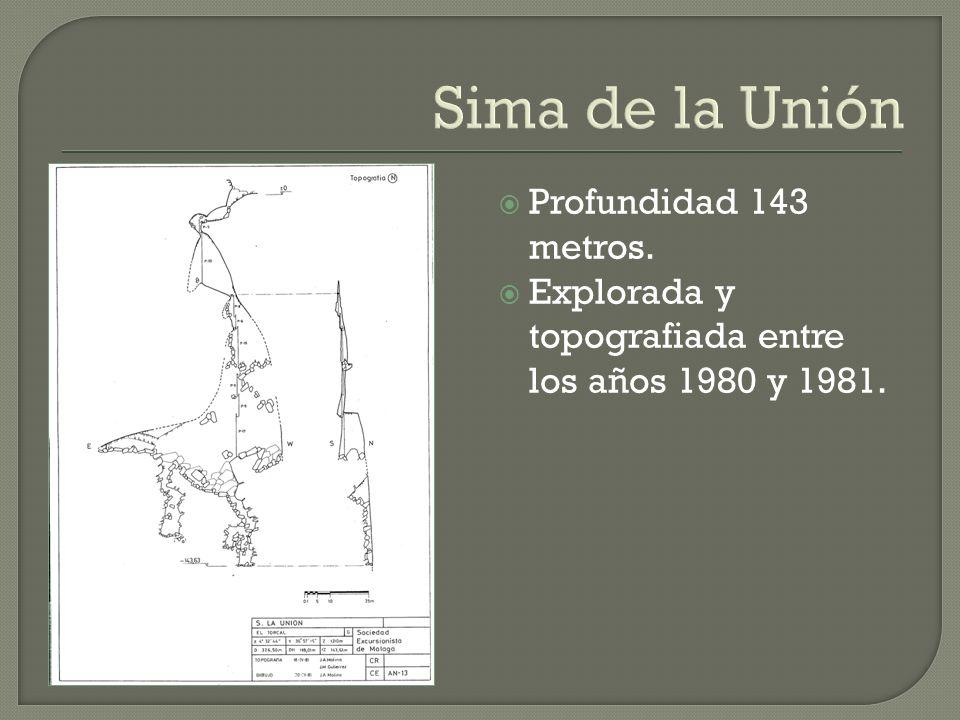 Sima de la Unión Profundidad 143 metros.