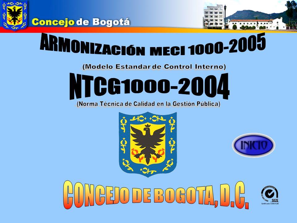 CONCEJO DE BOGOTA, D.C. ARMONIZACIÓN MECI 1000-2005 NTCG1000-2004