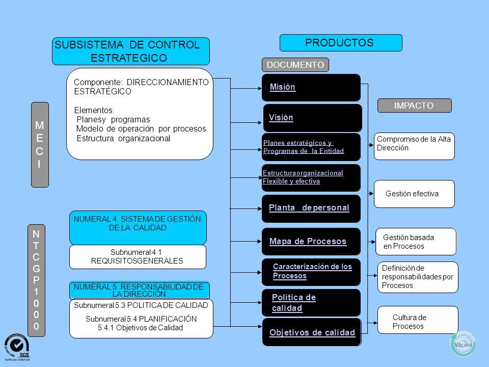 PRODUCTOS SUBSISTEMA DE CONTROL ESTRATEGICO M E C I N T C G P 1