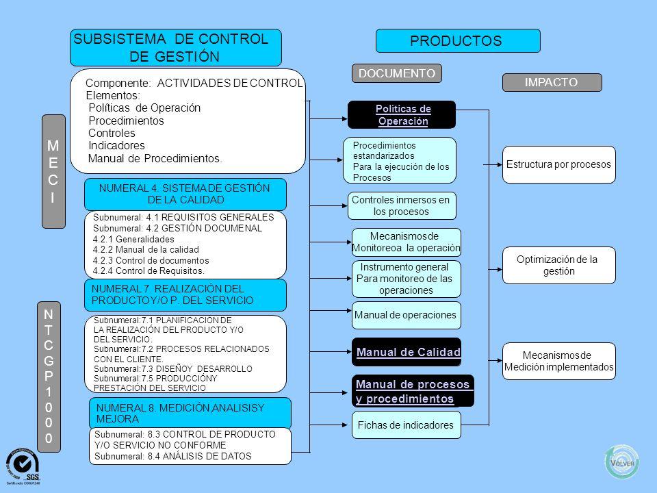 SUBSISTEMA DE CONTROL PRODUCTOS DE GESTIÓN M E C I N T C G P 1