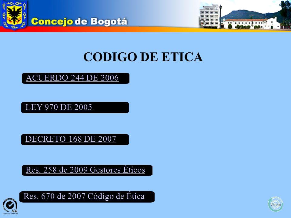 CODIGO DE ETICA ACUERDO 244 DE 2006 LEY 970 DE 2005