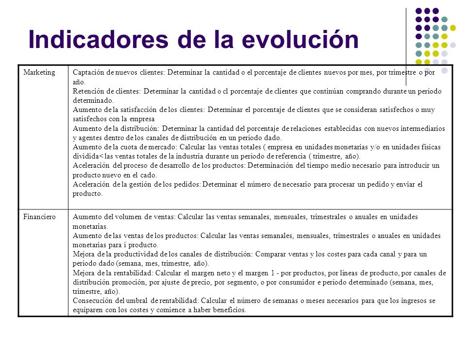 Indicadores de la evolución