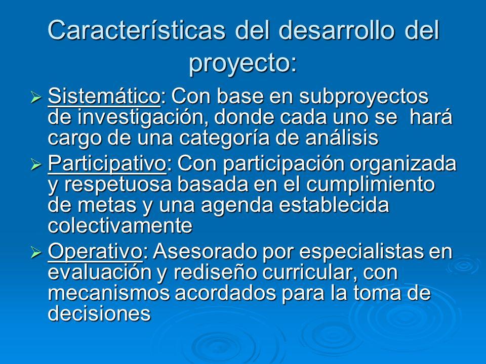 Características del desarrollo del proyecto: