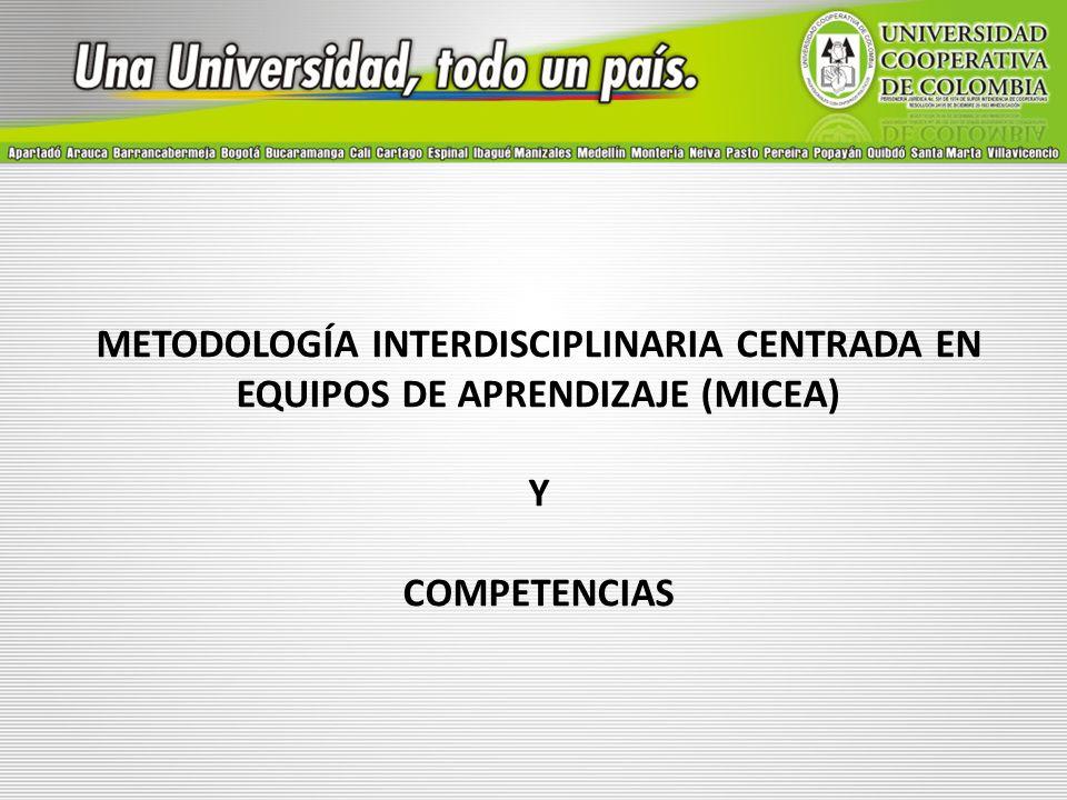 METODOLOGÍA INTERDISCIPLINARIA CENTRADA EN EQUIPOS DE APRENDIZAJE (MICEA) Y COMPETENCIAS