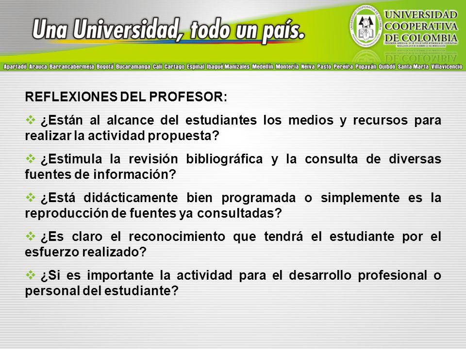 REFLEXIONES DEL PROFESOR: