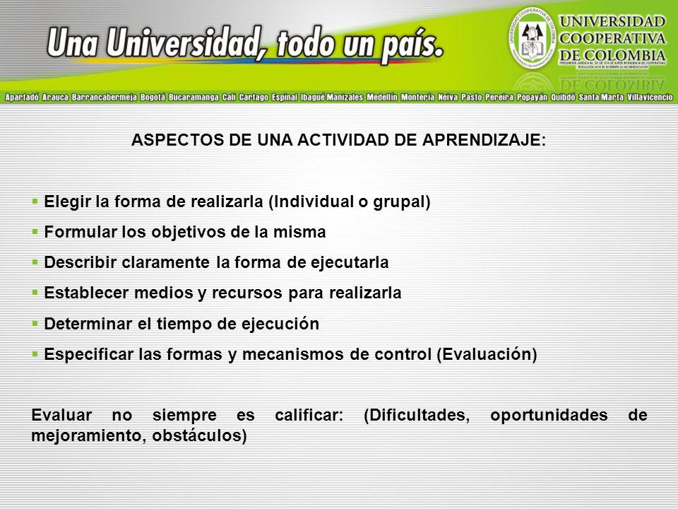 ASPECTOS DE UNA ACTIVIDAD DE APRENDIZAJE:
