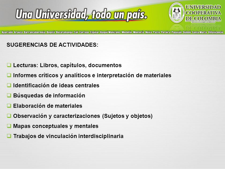 SUGERENCIAS DE ACTIVIDADES:
