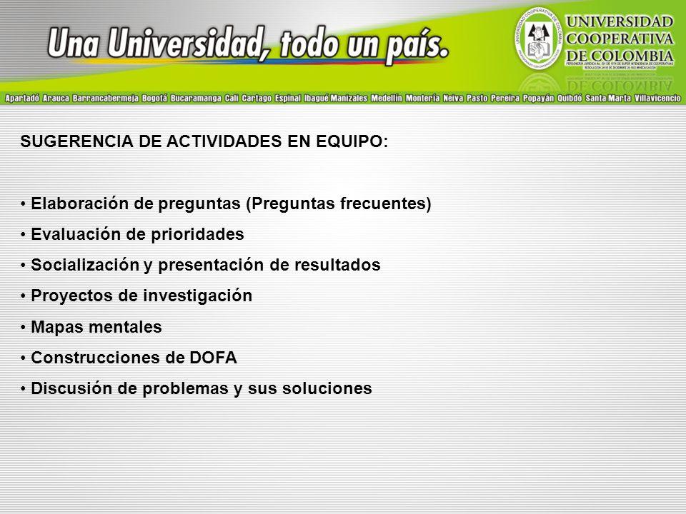 SUGERENCIA DE ACTIVIDADES EN EQUIPO: