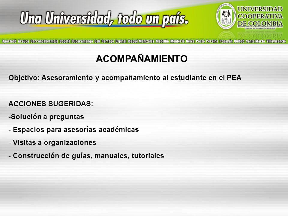 ACOMPAÑAMIENTO Objetivo: Asesoramiento y acompañamiento al estudiante en el PEA. ACCIONES SUGERIDAS:
