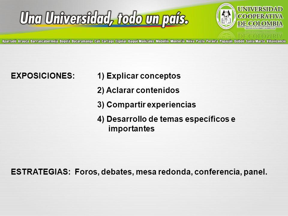 EXPOSICIONES: 1) Explicar conceptos