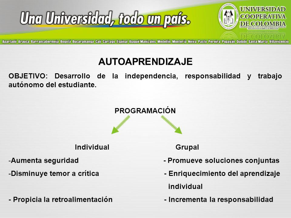 AUTOAPRENDIZAJE OBJETIVO: Desarrollo de la independencia, responsabilidad y trabajo autónomo del estudiante.