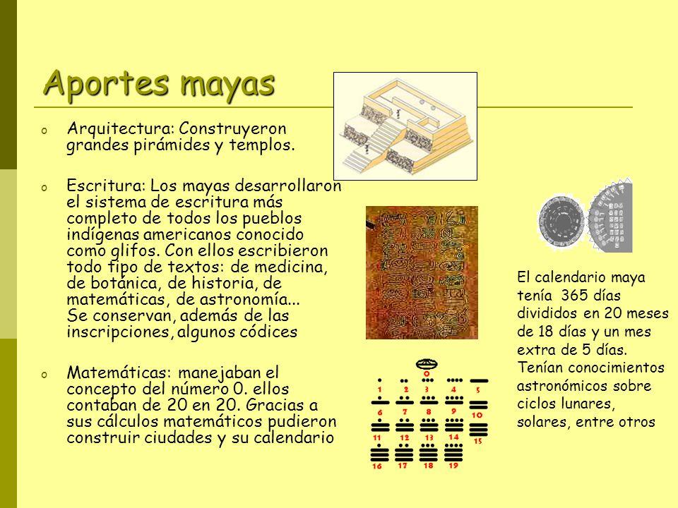 Aportes mayas Arquitectura: Construyeron grandes pirámides y templos.