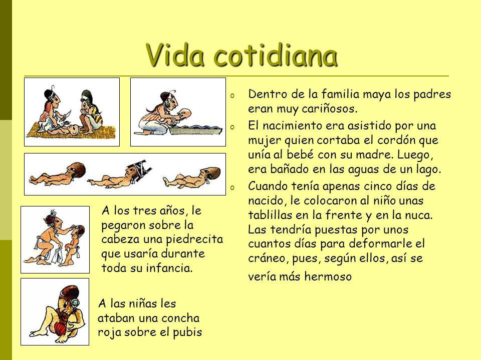 Vida cotidiana Dentro de la familia maya los padres eran muy cariñosos.