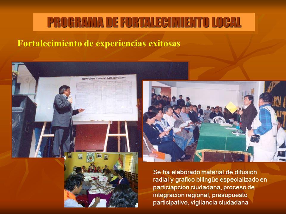 PROGRAMA DE FORTALECIMIENTO LOCAL