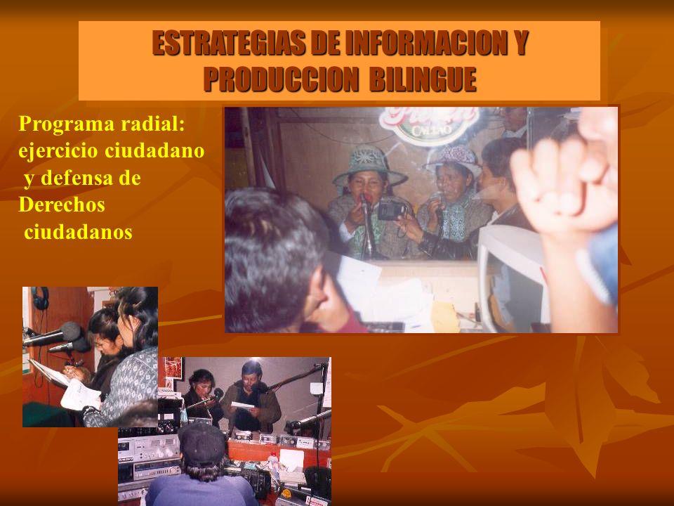 ESTRATEGIAS DE INFORMACION Y PRODUCCION BILINGUE