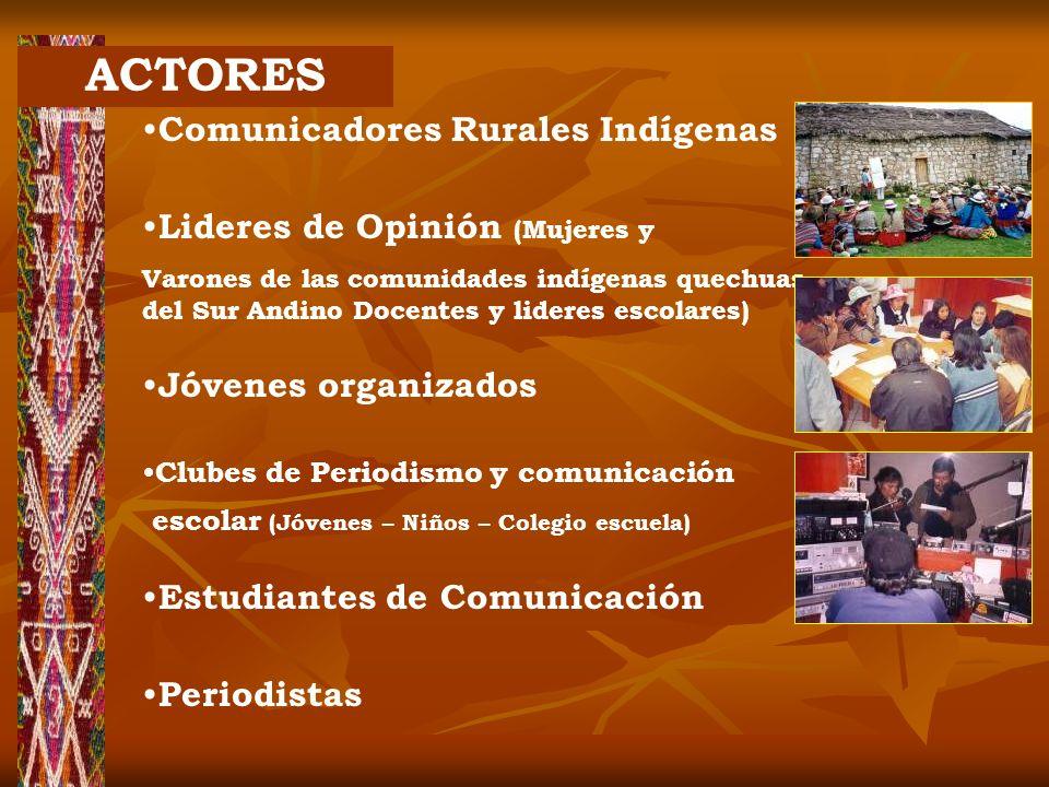 ACTORES Comunicadores Rurales Indígenas Lideres de Opinión (Mujeres y