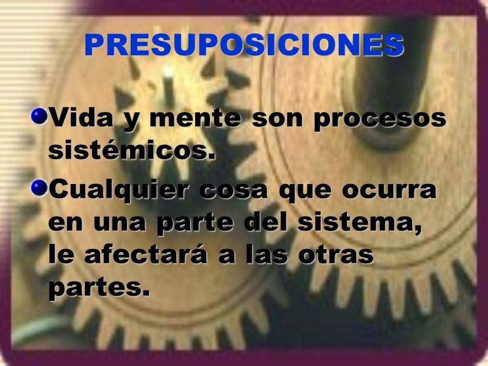 PRESUPOSICIONES Vida y mente son procesos sistémicos.