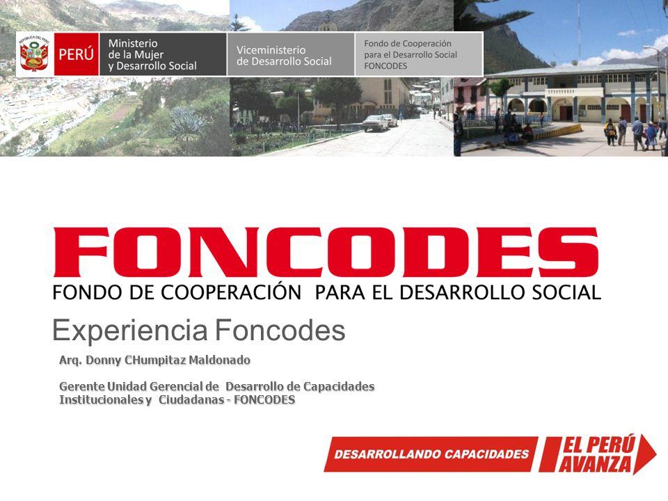 Experiencia Foncodes Arq. Donny CHumpitaz Maldonado