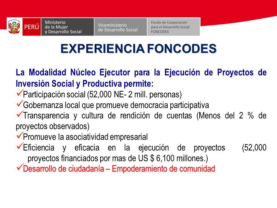 EXPERIENCIA FONCODES La Modalidad Núcleo Ejecutor para la Ejecución de Proyectos de Inversión Social y Productiva permite: