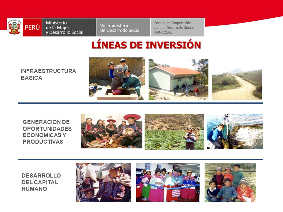 LÍNEAS DE INVERSIÓN INFRAESTRUCTURA BASICA