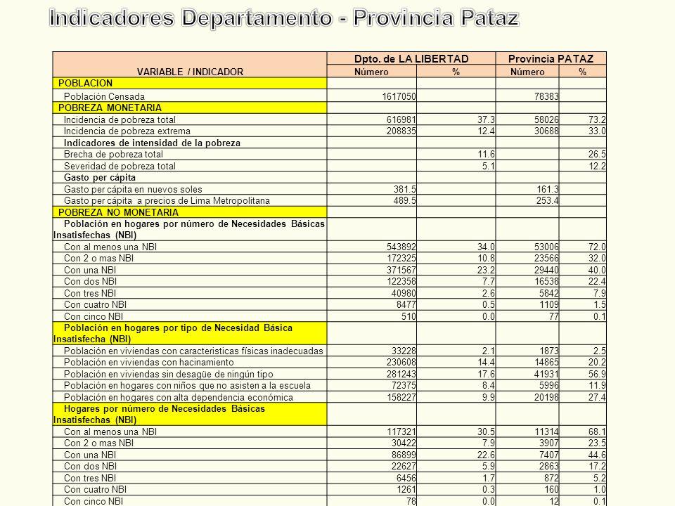 Indicadores Departamento - Provincia Pataz