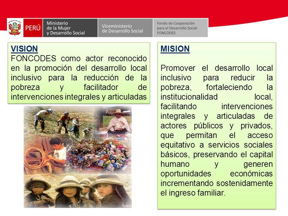 VISION FONCODES como actor reconocido en la promoción del desarrollo local inclusivo para la reducción de la pobreza y facilitador de intervenciones integrales y articuladas
