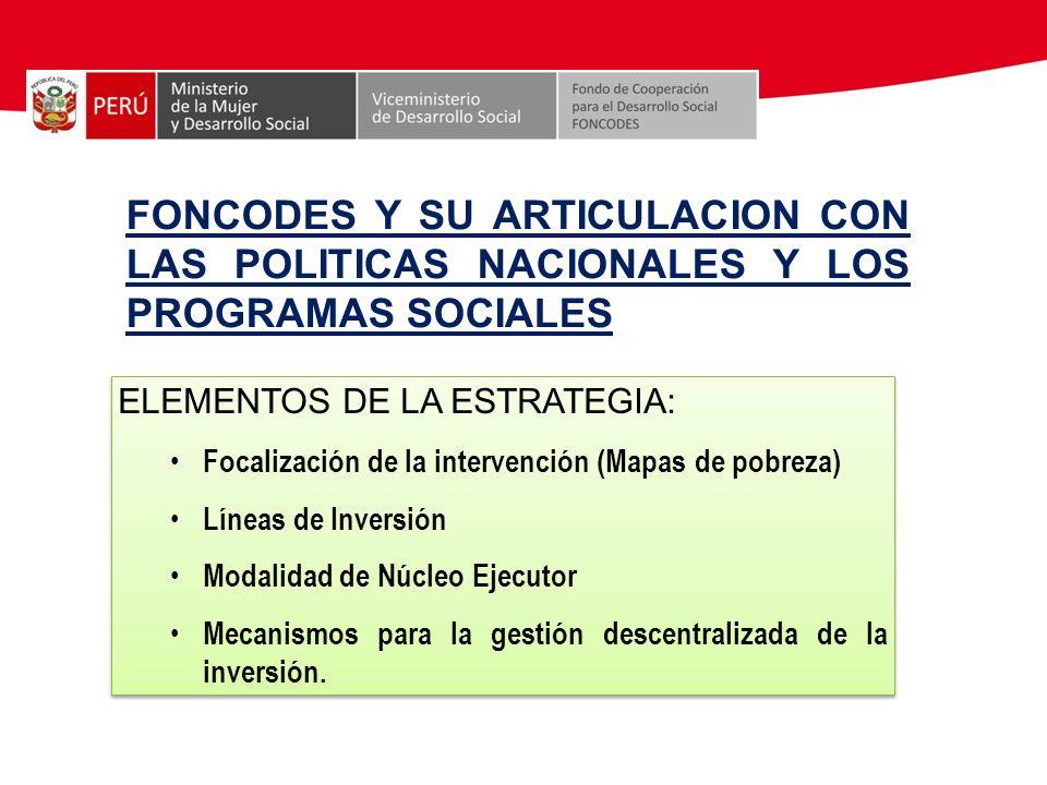 FONCODES Y SU ARTICULACION CON LAS POLITICAS NACIONALES Y LOS PROGRAMAS SOCIALES