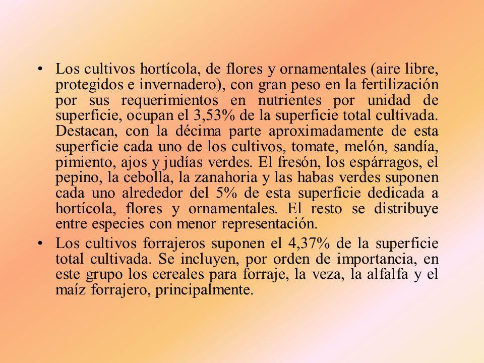 Los cultivos hortícola, de flores y ornamentales (aire libre, protegidos e invernadero), con gran peso en la fertilización por sus requerimientos en nutrientes por unidad de superficie, ocupan el 3,53% de la superficie total cultivada. Destacan, con la décima parte aproximadamente de esta superficie cada uno de los cultivos, tomate, melón, sandía, pimiento, ajos y judías verdes. El fresón, los espárragos, el pepino, la cebolla, la zanahoria y las habas verdes suponen cada uno alrededor del 5% de esta superficie dedicada a hortícola, flores y ornamentales. El resto se distribuye entre especies con menor representación.