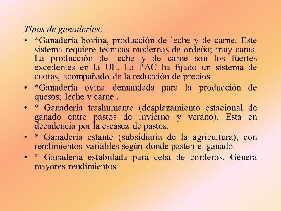 Tipos de ganaderías: