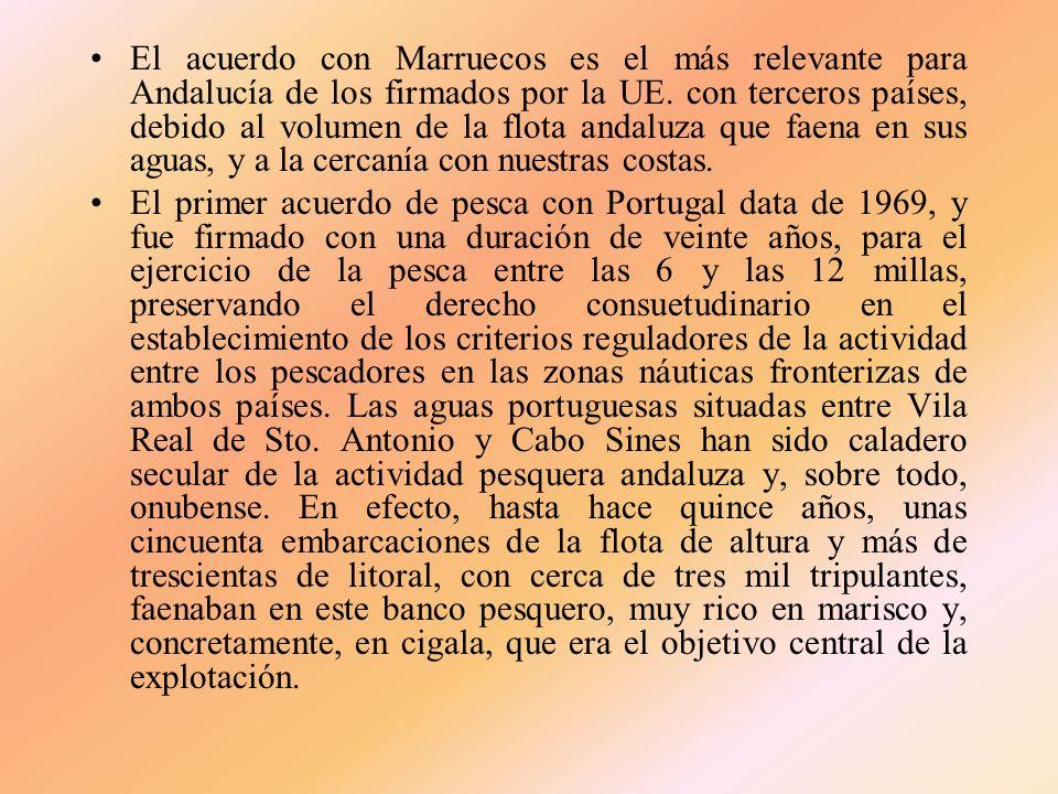 El acuerdo con Marruecos es el más relevante para Andalucía de los firmados por la UE. con terceros países, debido al volumen de la flota andaluza que faena en sus aguas, y a la cercanía con nuestras costas.