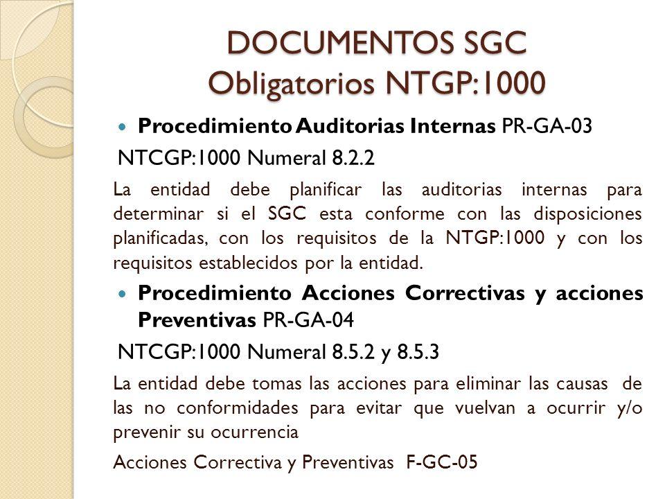 DOCUMENTOS SGC Obligatorios NTGP:1000