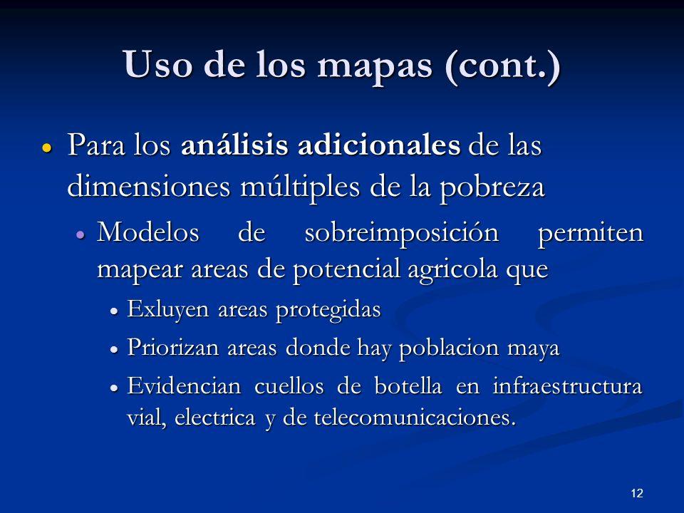 Uso de los mapas (cont.) Para los análisis adicionales de las dimensiones múltiples de la pobreza.