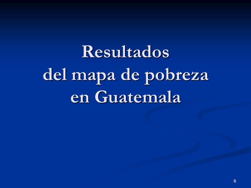 Resultados del mapa de pobreza en Guatemala
