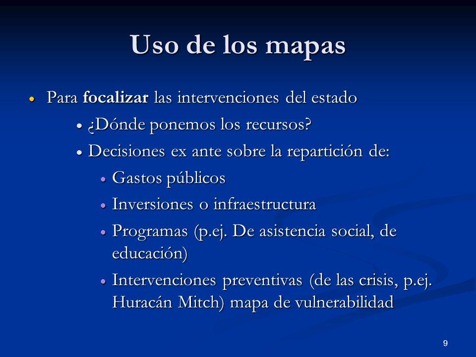 Uso de los mapas Para focalizar las intervenciones del estado