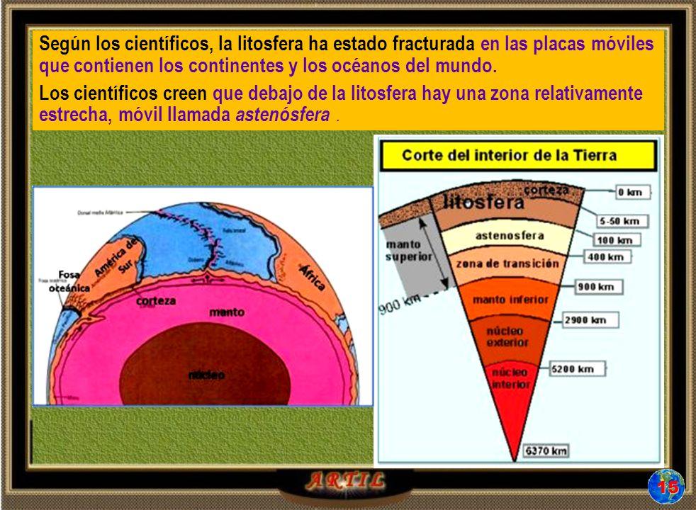Según los científicos, la litosfera ha estado fracturada en las placas móviles que contienen los continentes y los océanos del mundo.