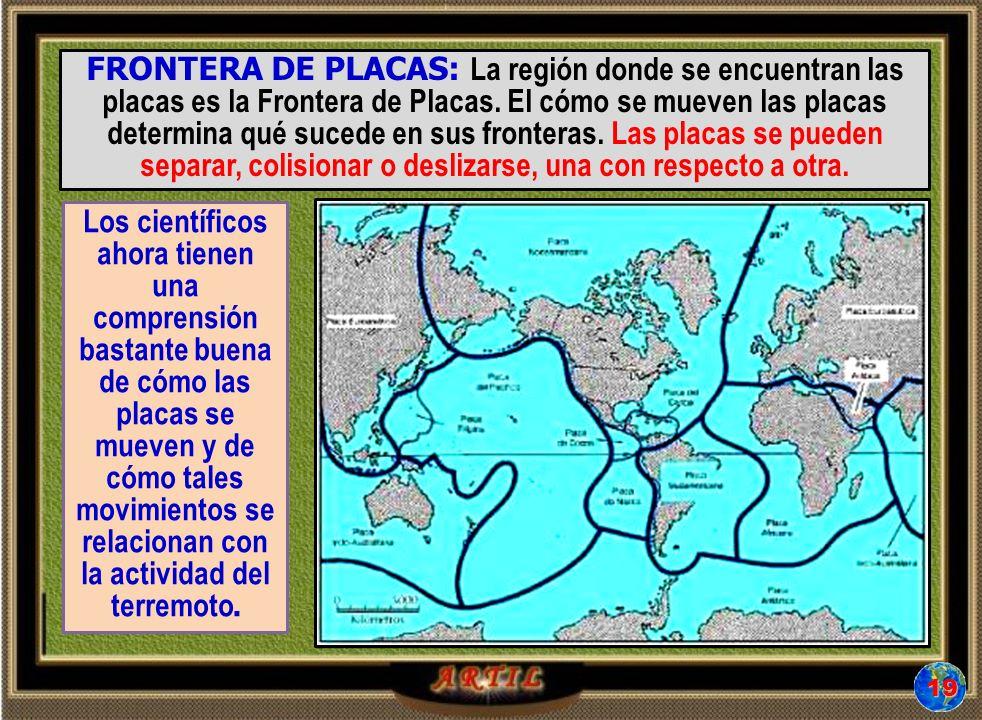 FRONTERA DE PLACAS: La región donde se encuentran las placas es la Frontera de Placas. El cómo se mueven las placas determina qué sucede en sus fronteras. Las placas se pueden separar, colisionar o deslizarse, una con respecto a otra.